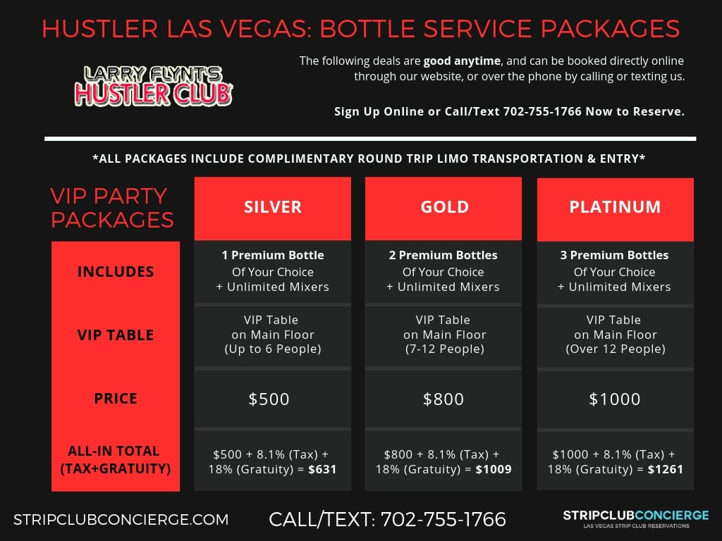 Hustler Bottle Menu
